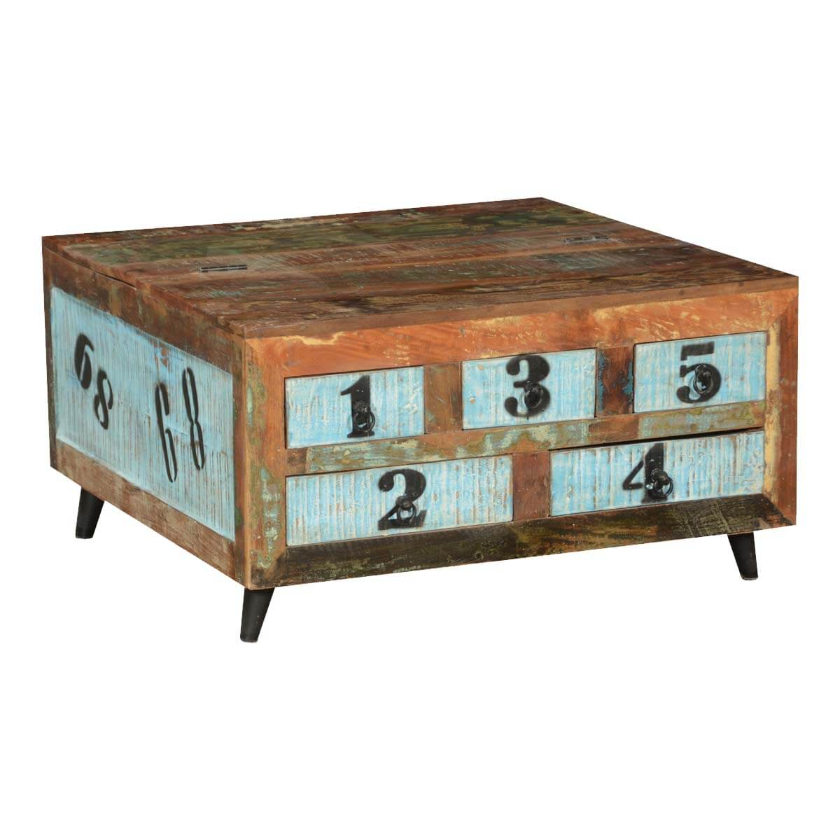 Elsmere Reclaimed Wood Standing 5 Drawer Square Coffee Table Chest