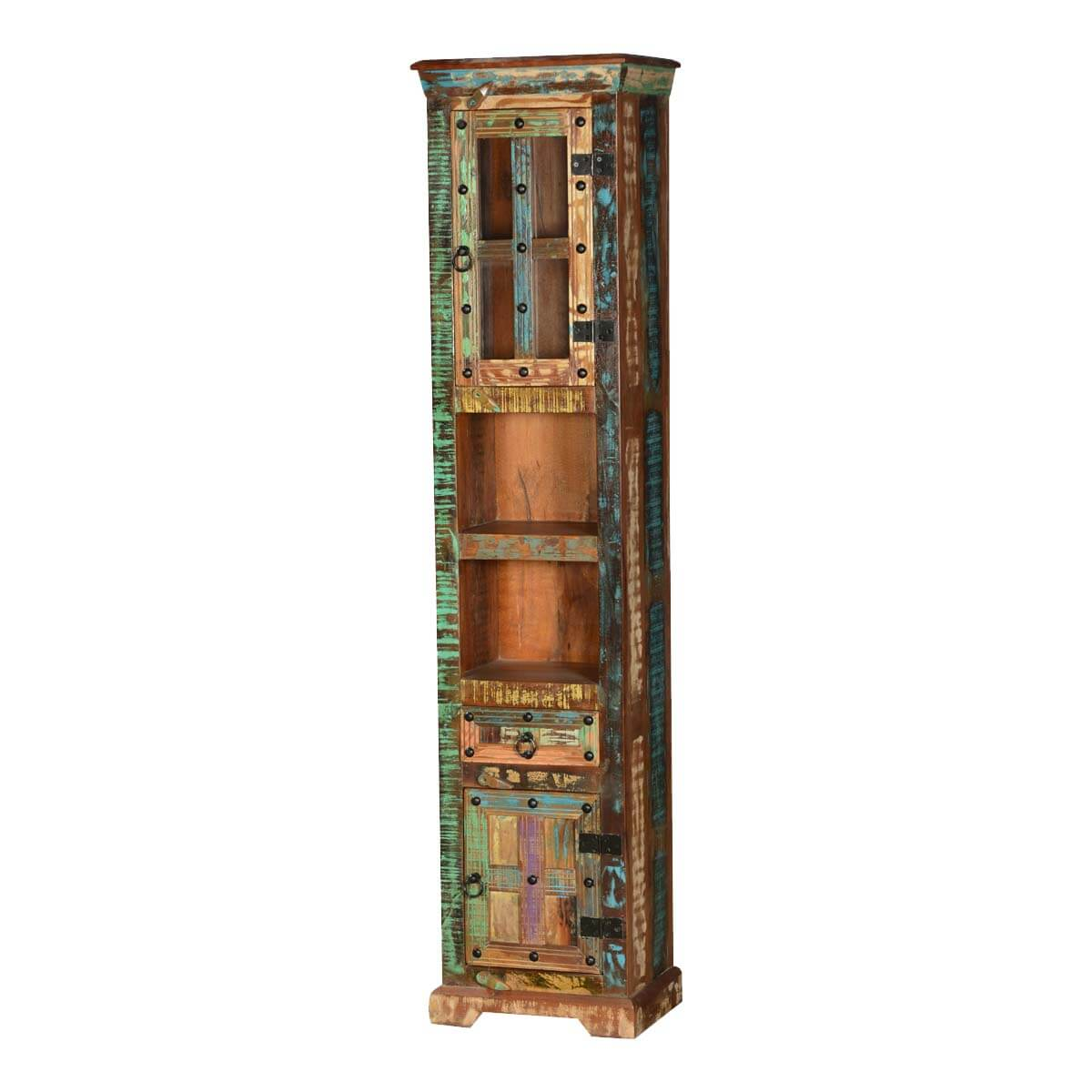 Gothic Rustic Rainbow Solid Reclaimed Wood Tall Narrow Linen Cabinet
