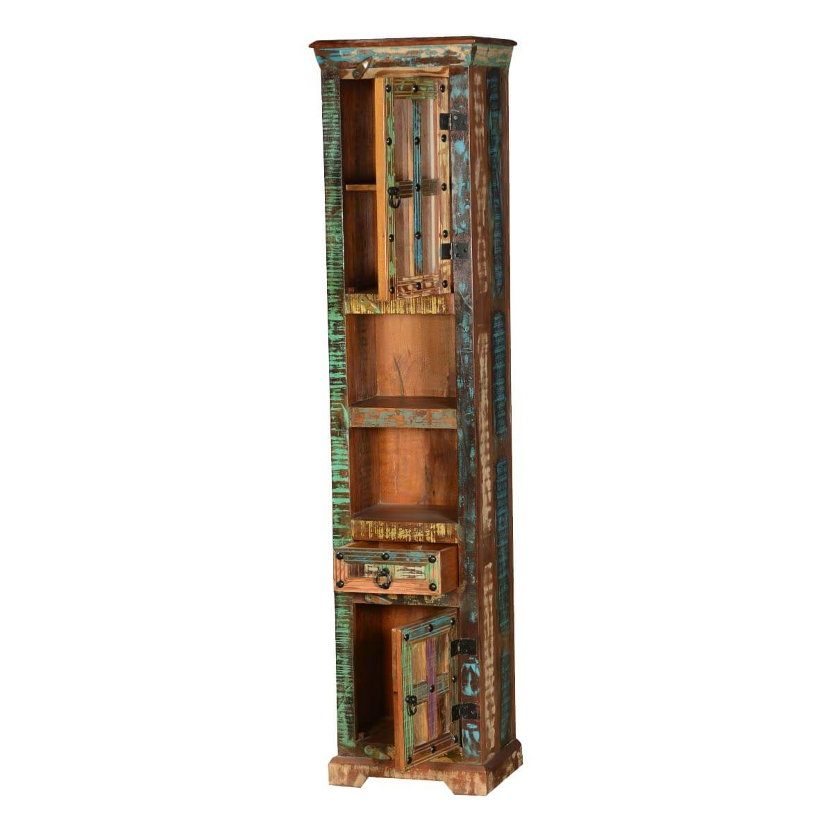 Picture of: Gothic Rustic Rainbow Solid Reclaimed Wood Tall Narrow Linen Cabinet