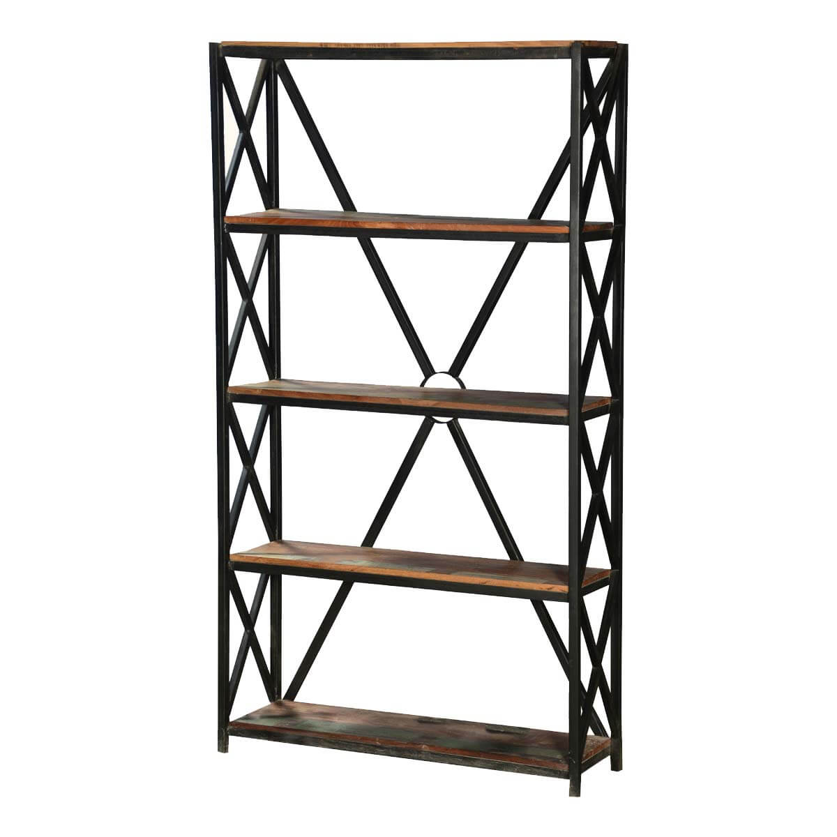 Worland 4 Open Shelf Industrial Rustic Reclaimed Wood Etagere Bookcase