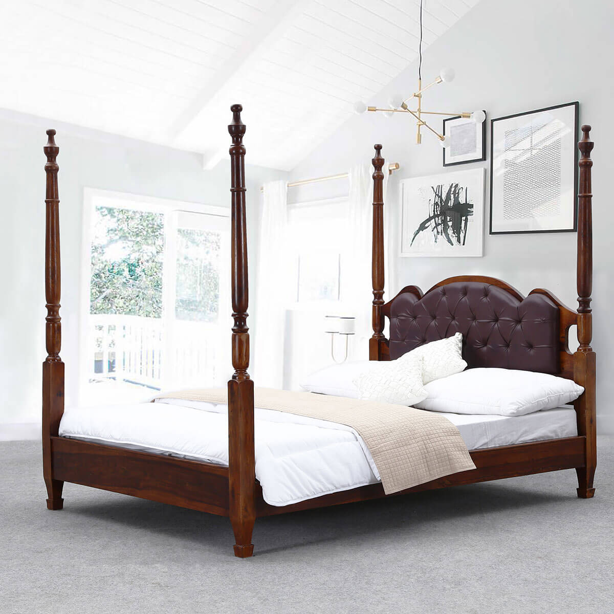 5187f5dc7e565 Four Poster Bed Frame w Headboard English Tudor Solid Wood   Leather. Hover  to zoom