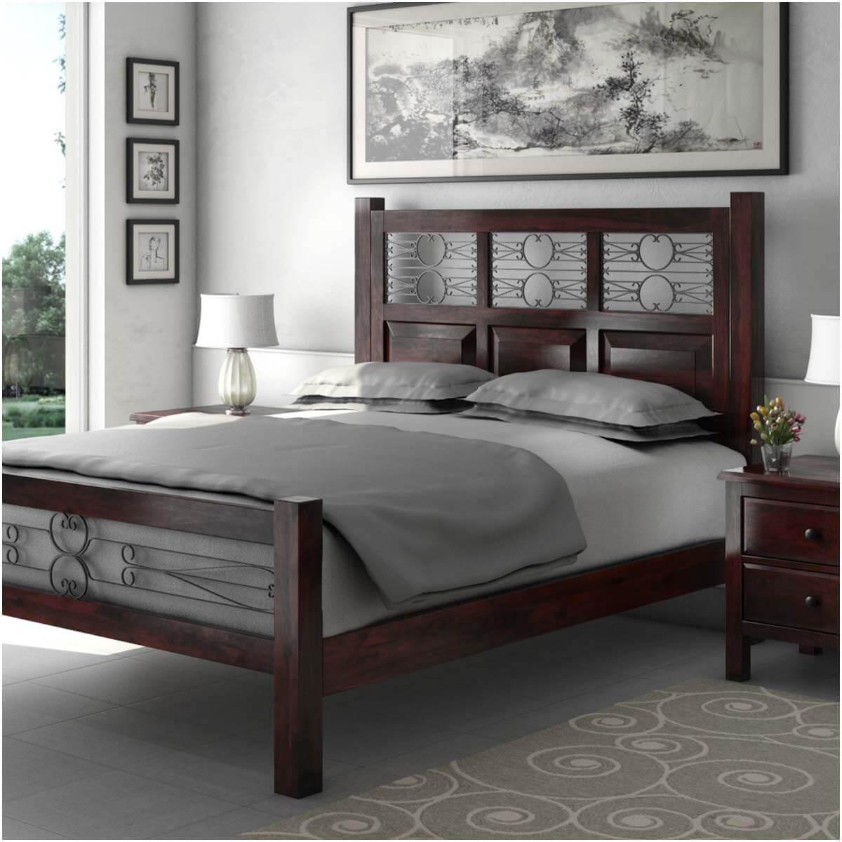 Mission Romance Solid Wood & Iron Platform Bed