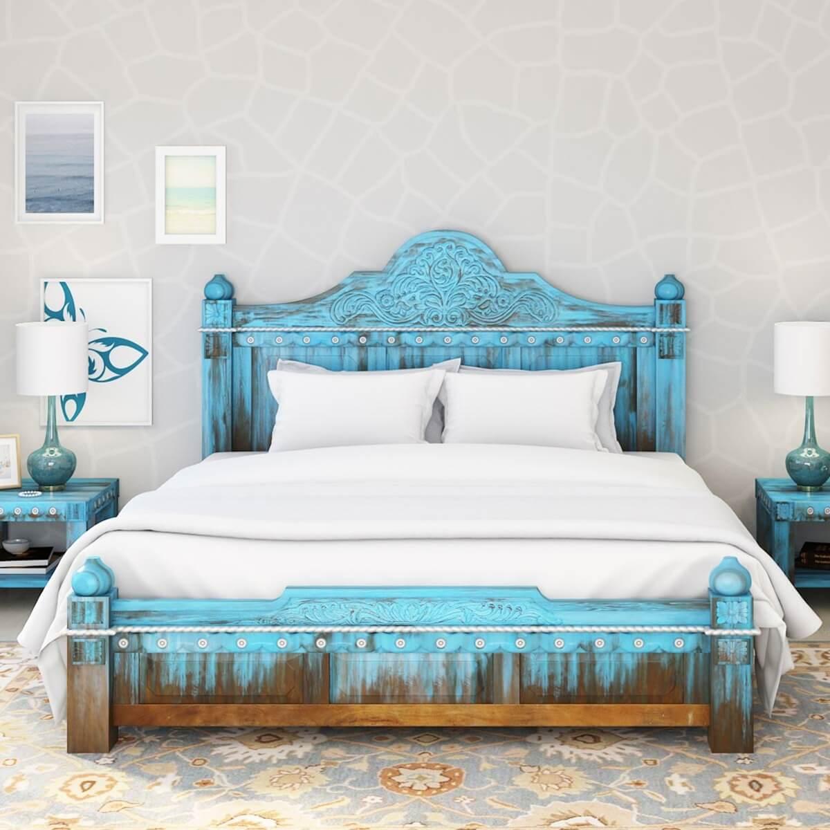 Empire Blue Dawn Solid Mango Wood Hand Carved Platform Bed
