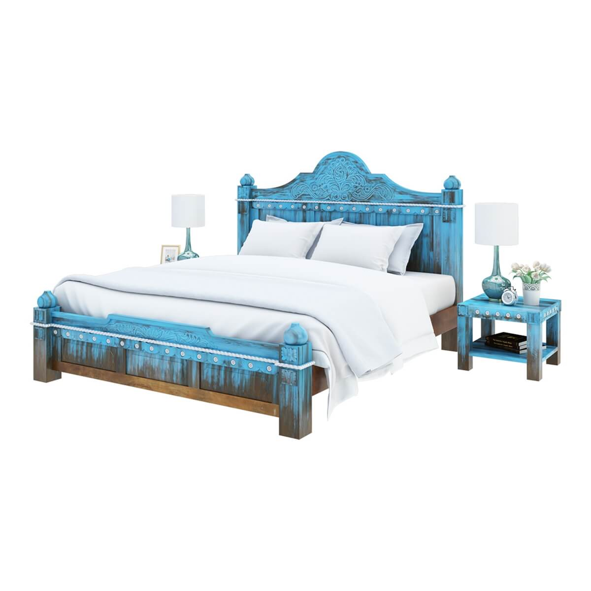 Hand Carved Bed: Empire Blue Dawn Solid Mango Wood Hand Carved Platform Bed