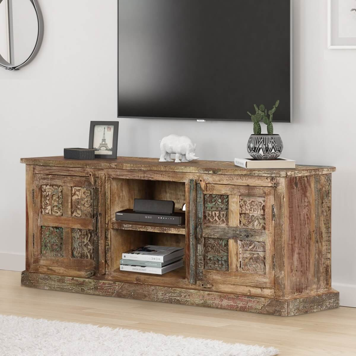 best service 532e6 ab090 Morocco Rustic Reclaimed Wood TV Stand Media Cabinet