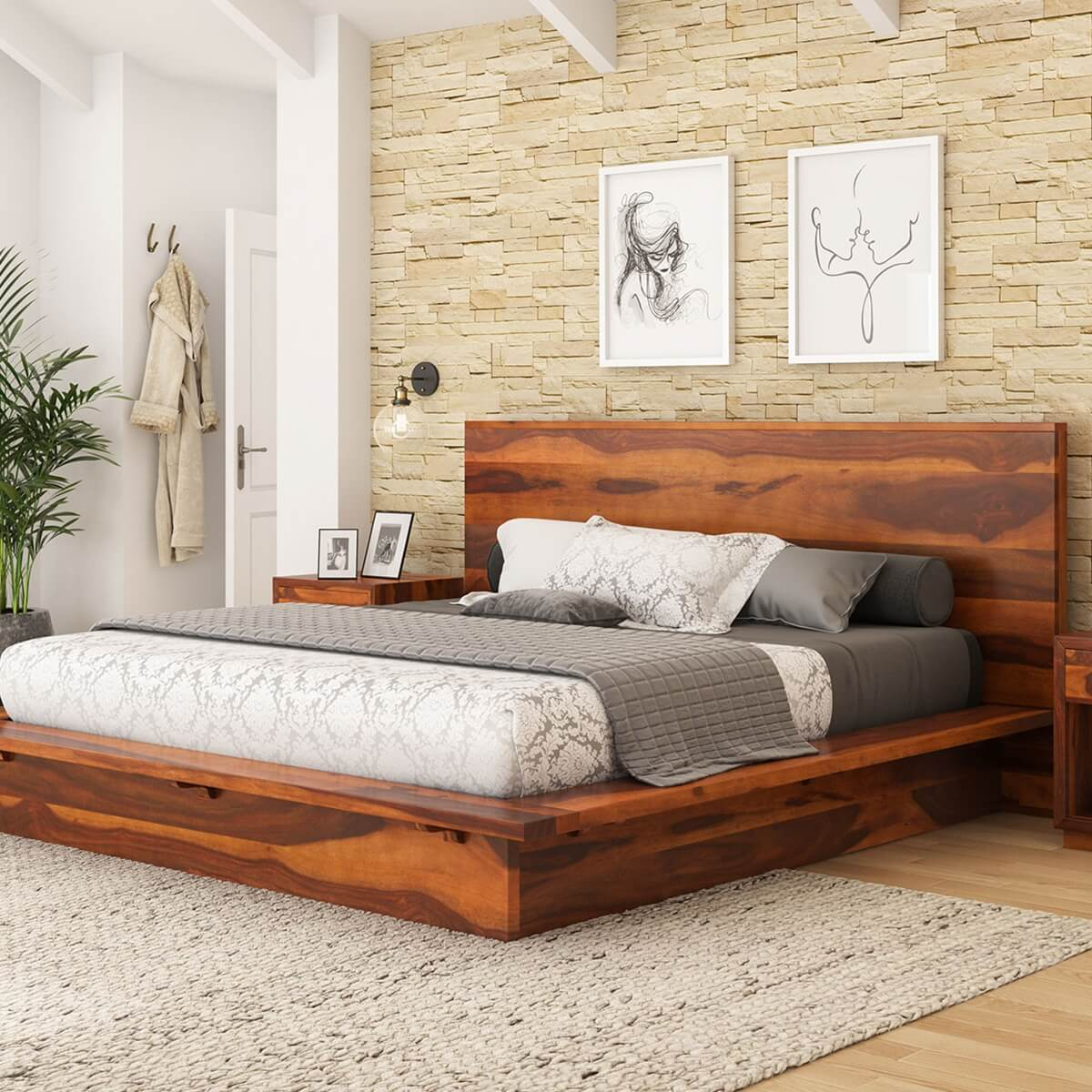 Delaware Solid Wood Platform Bed Frame