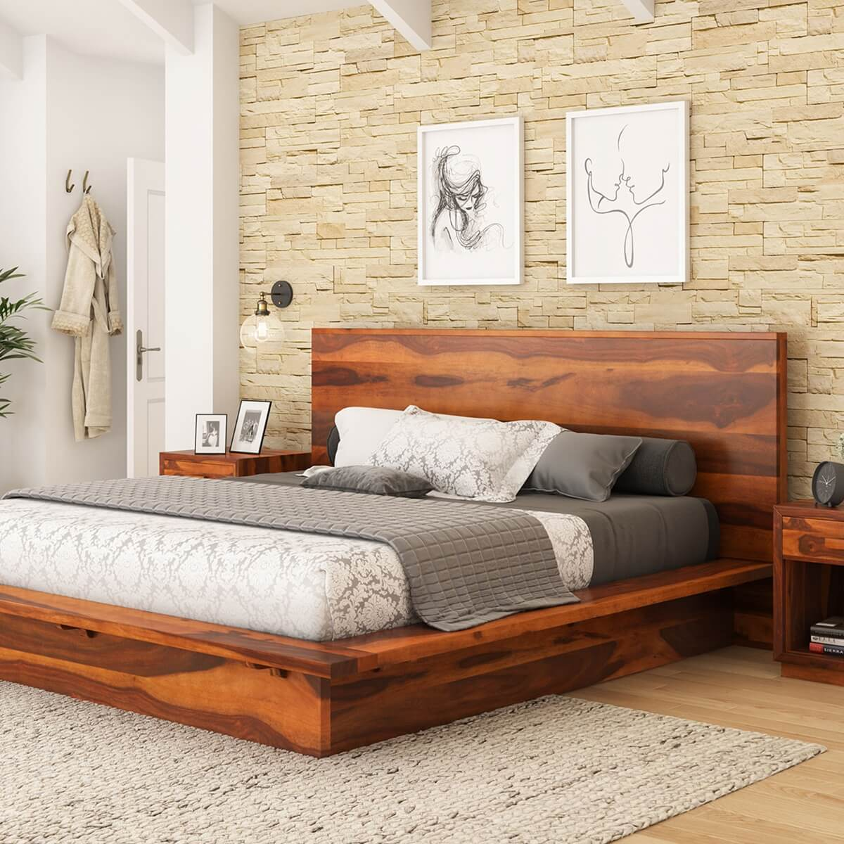 delaware solid wood platform bed frame. Black Bedroom Furniture Sets. Home Design Ideas