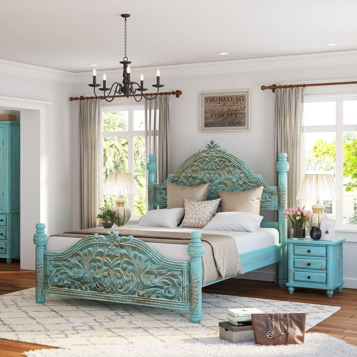 Victorian Winter White Mango Wood Platform Bed Frame W High