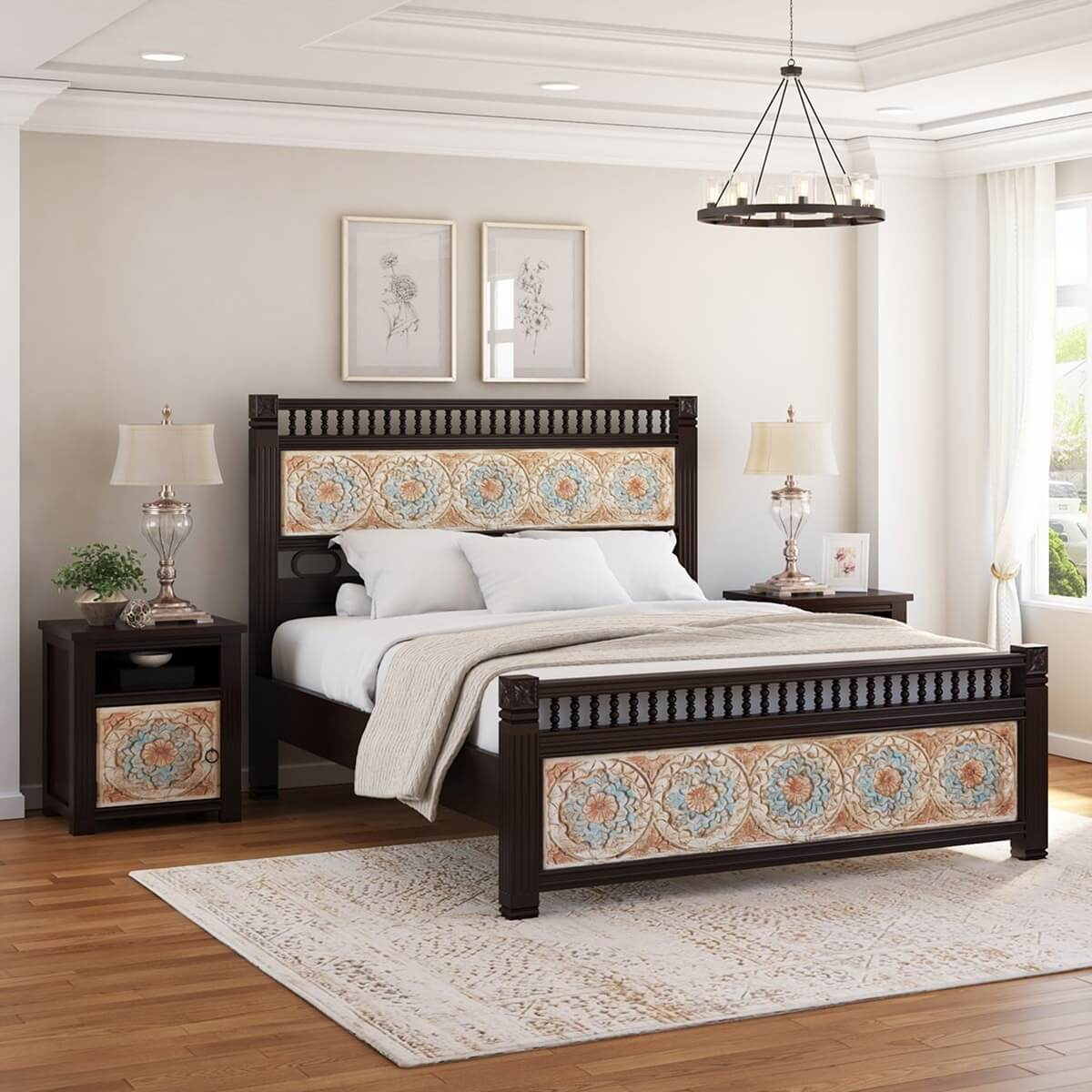 English Garden Mango Wood Hand Carved Platform Bed w Foot & Headboard