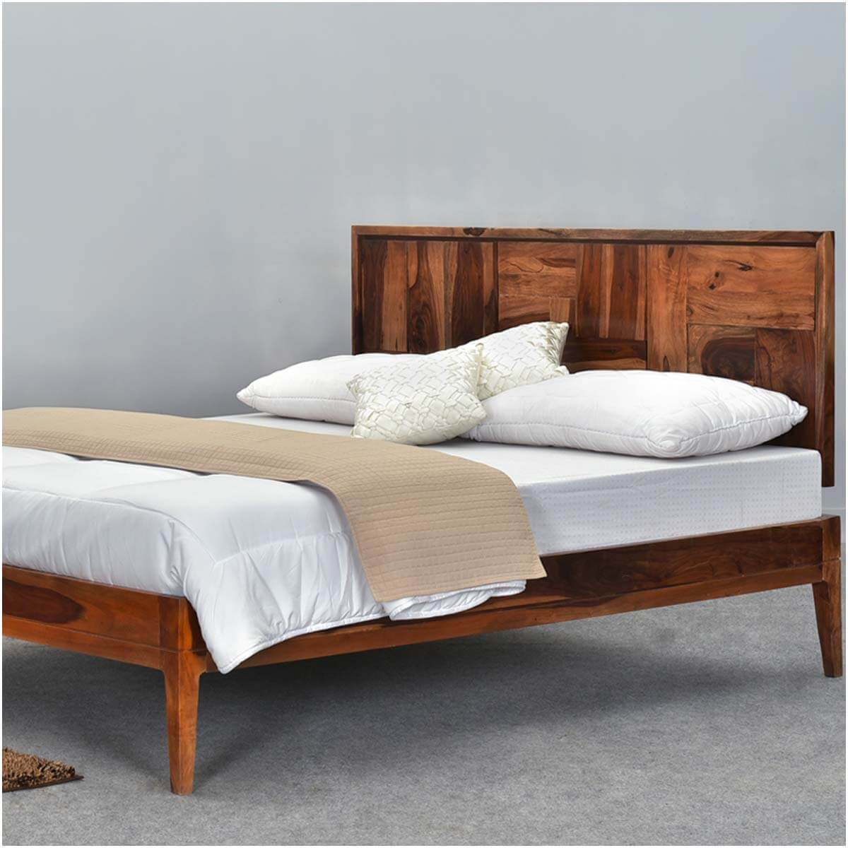 best service 87fe9 0b428 Sunrise Modern Pioneer Solid Wood Platform Bed Frame w Headboard