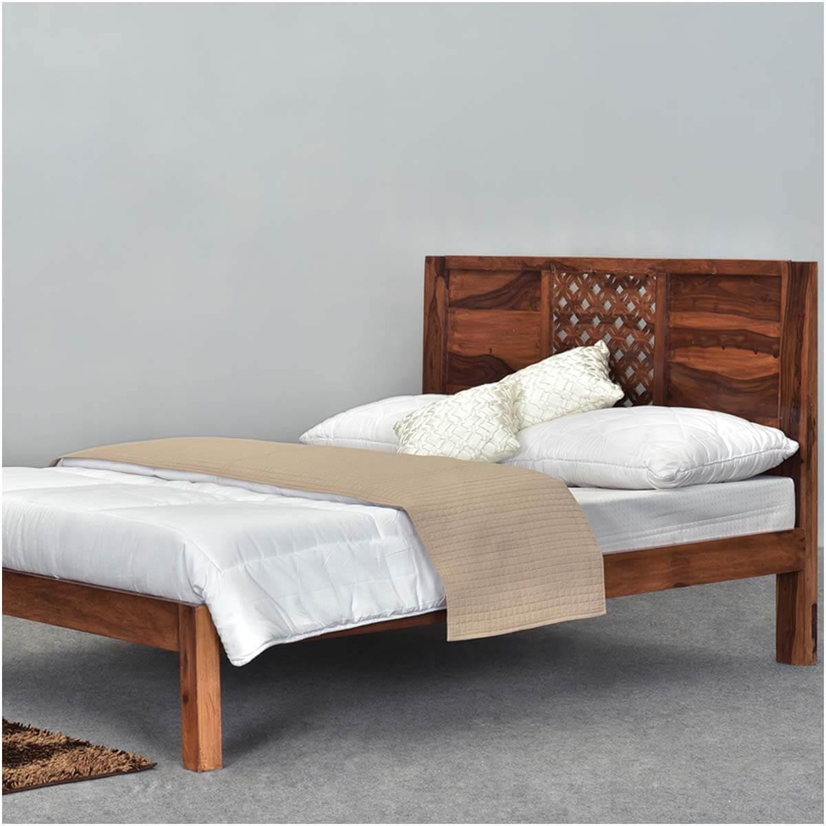 buy online 851f6 7c75a Diamond Lattice Solid Wood Rustic Platform Bed Frame w Headboard