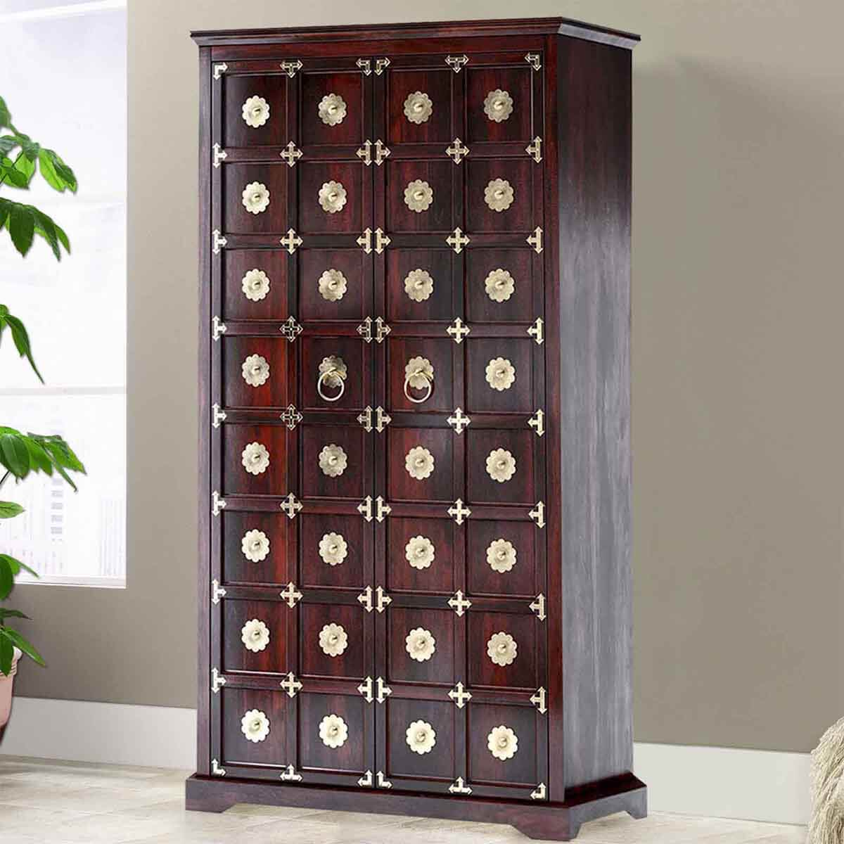 Madison Brass Inlay Solid Wood Large Wardrobe Armoire With Drawers