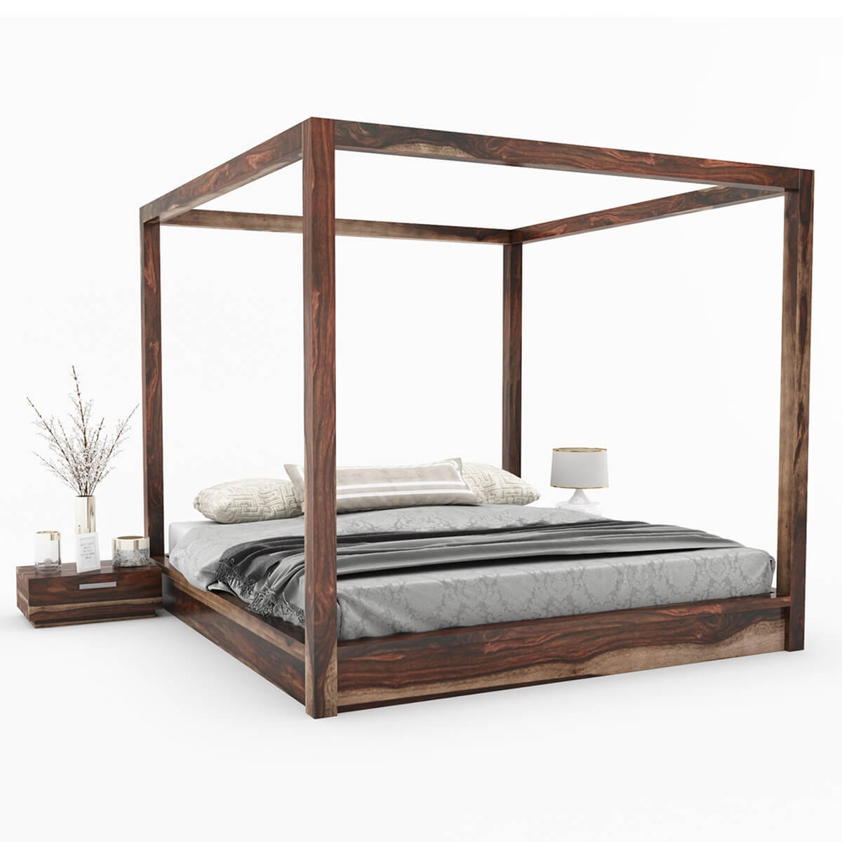 df5c5675188dd Hampshire Rustic Solid Wood Canopy Bed