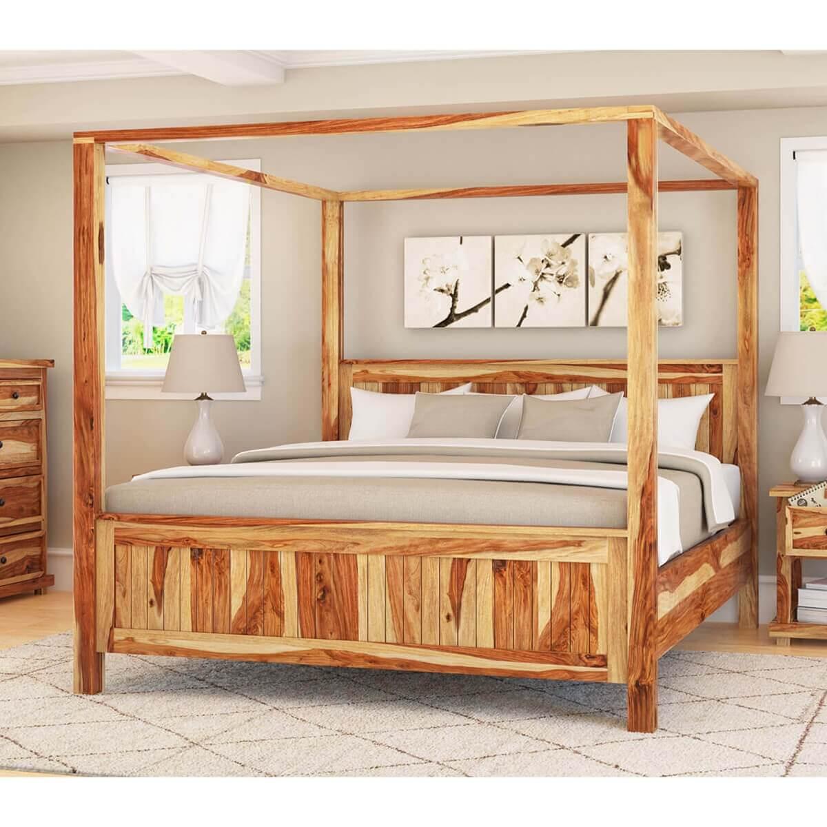 - Larvik Rustic Solid Wood Platform Canopy Bed