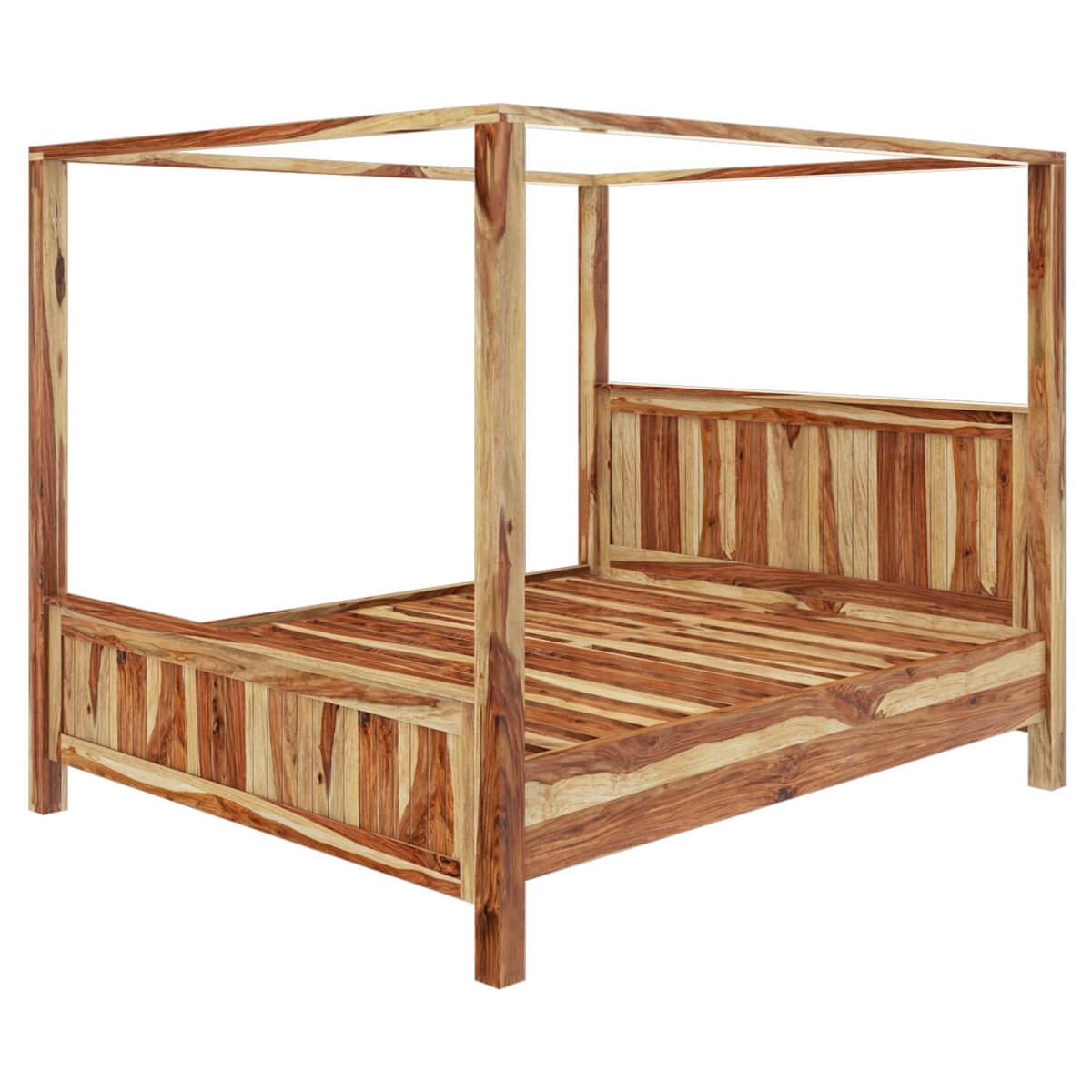 ff1accfa8f30e Larvik Rustic Solid Wood Platform Canopy Bed