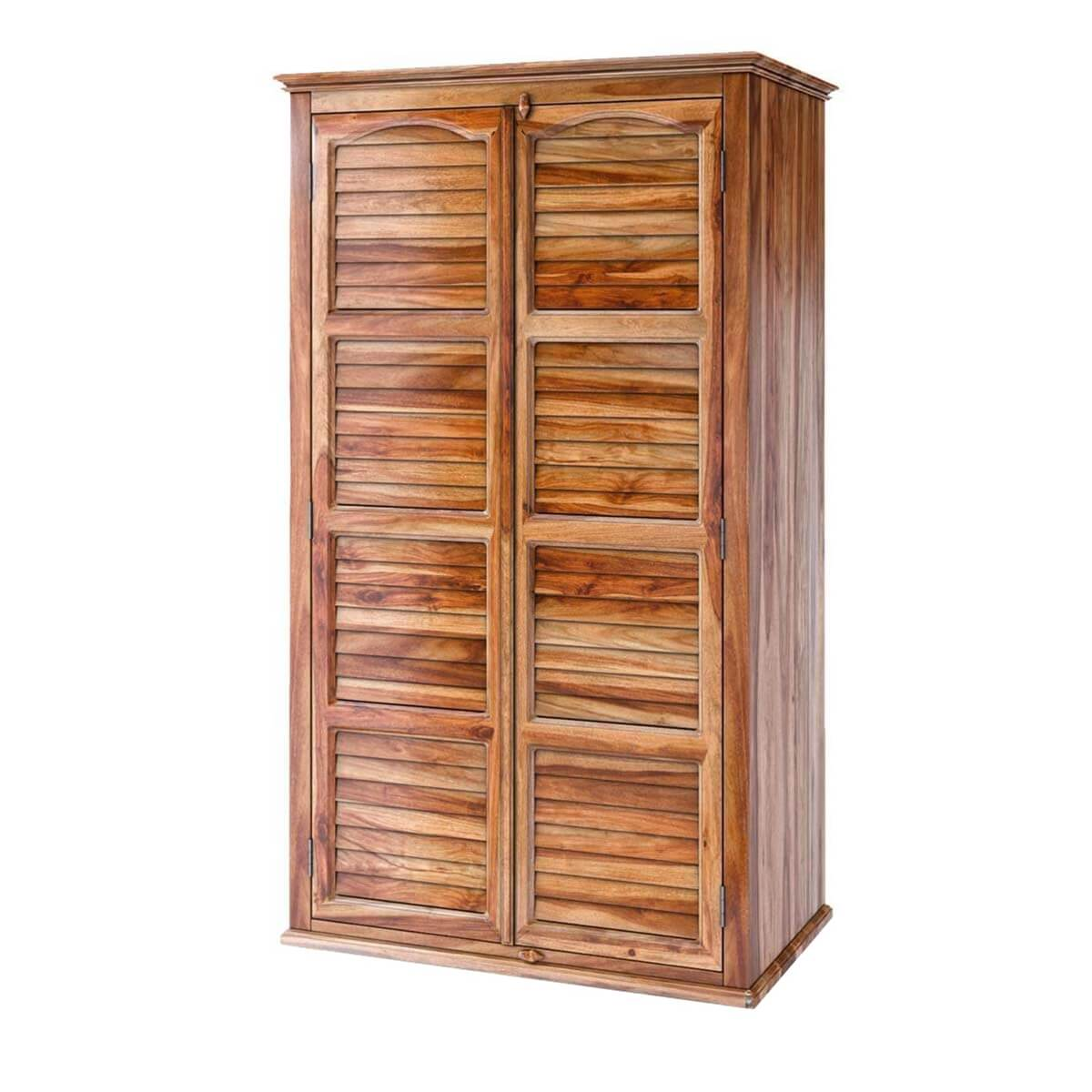 Livingston Louvered Door Rustic Solid Wood Large Armoire With Drawers