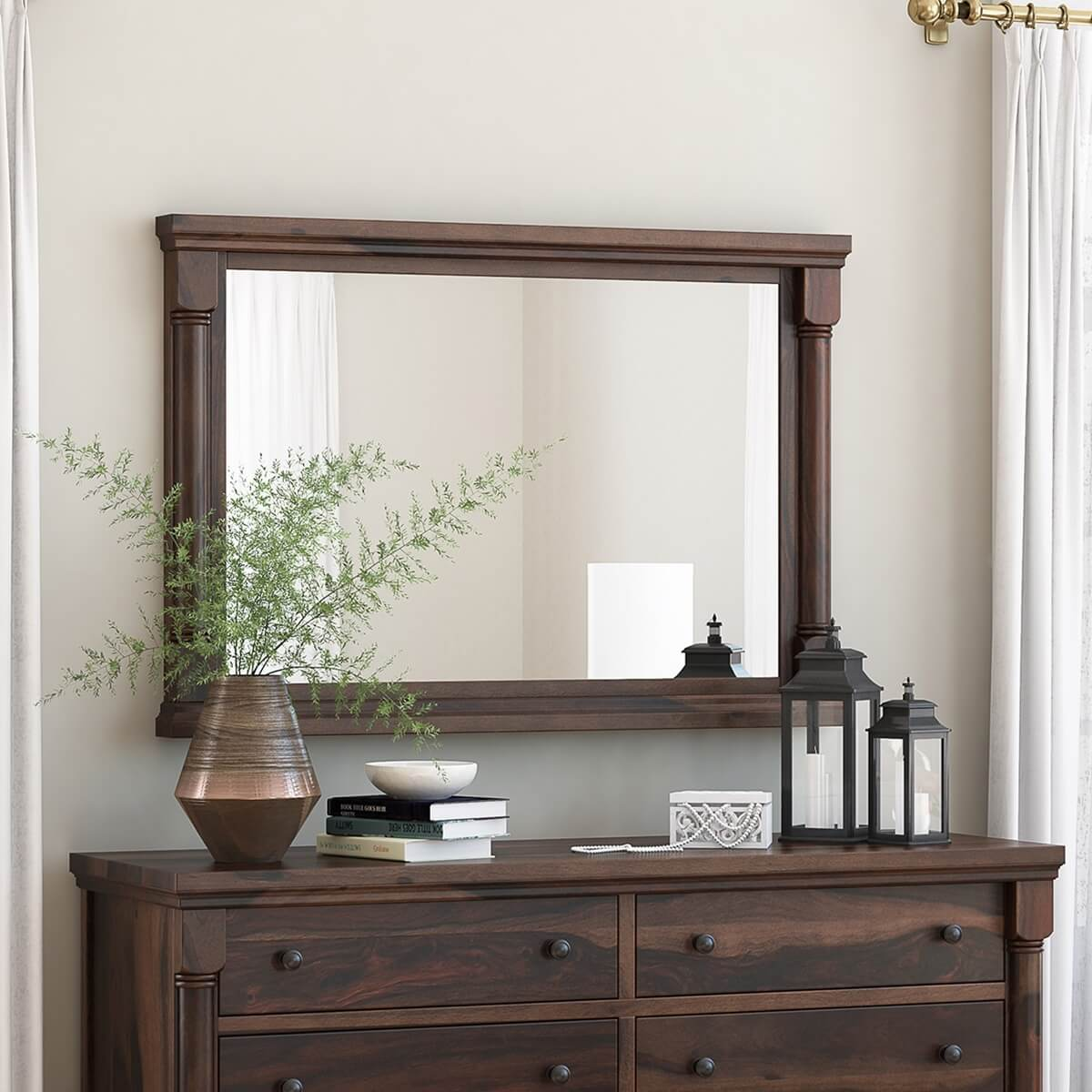"""Pioneer Transitional Solid Wood 36"""" by 40"""" Framed Mirror"""