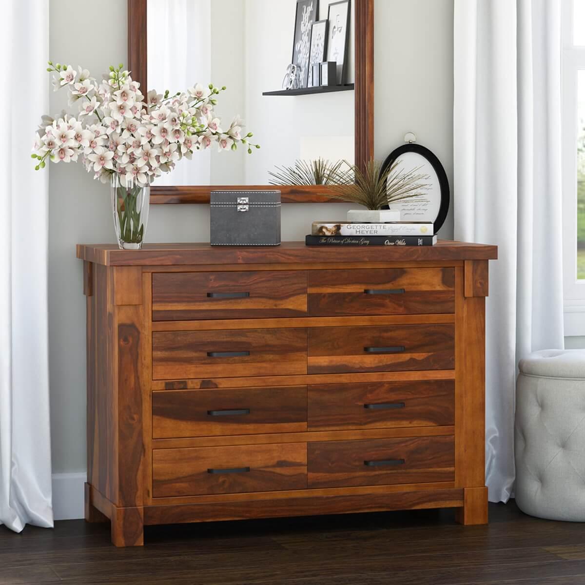 Modern Farmhouse Solid Wood 8 Drawer Double Dresser
