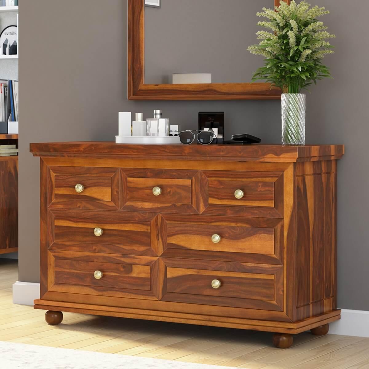 Pecos Solid Wood 7 Drawer Bedroom Dresser Chest