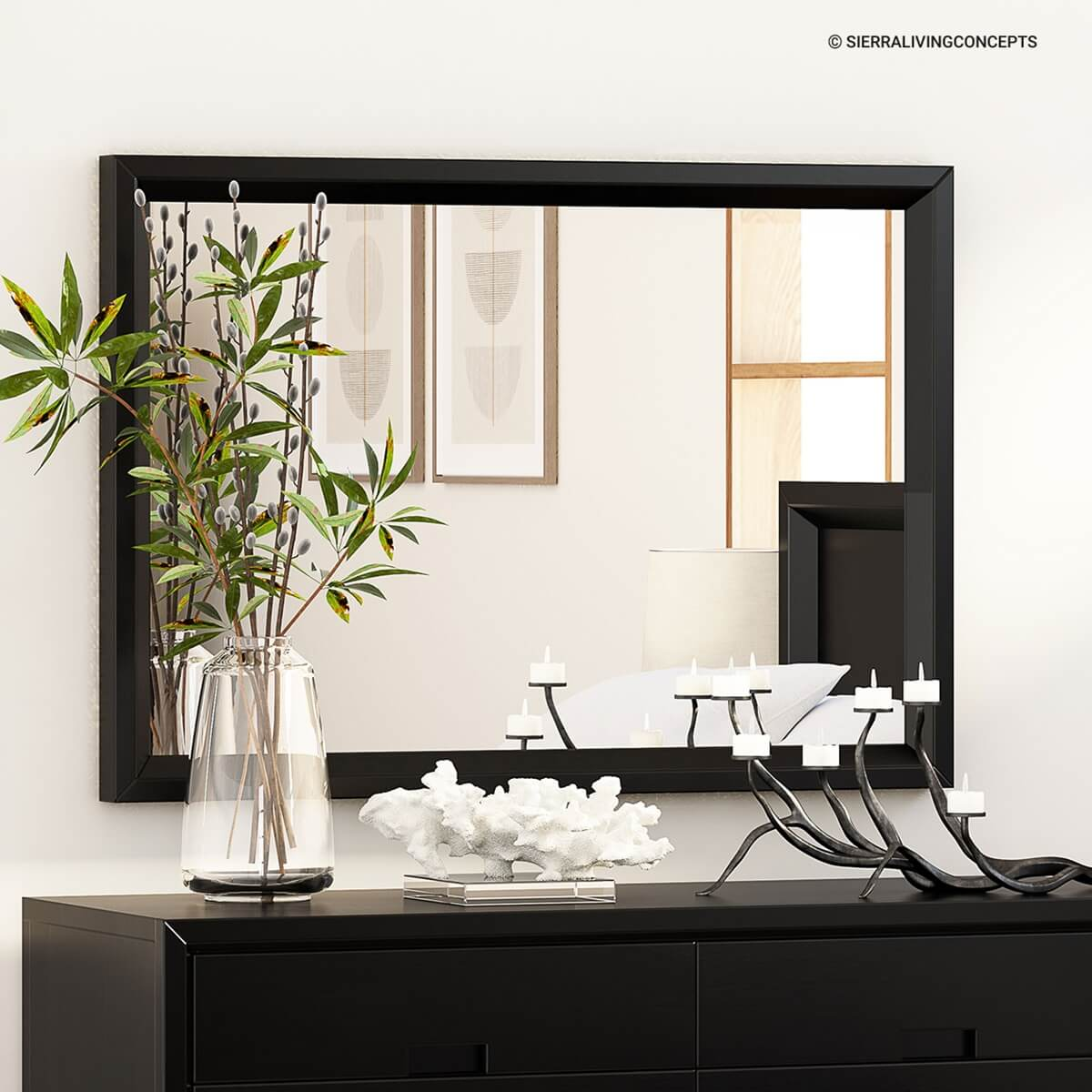Modern Simplicity Mocha Solid Wood Mirror Frame