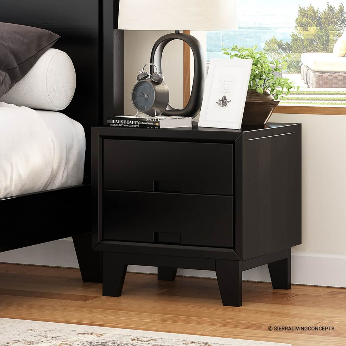 Modern Simplicity Mocha Solid Wood 2-Drawer Nightstand