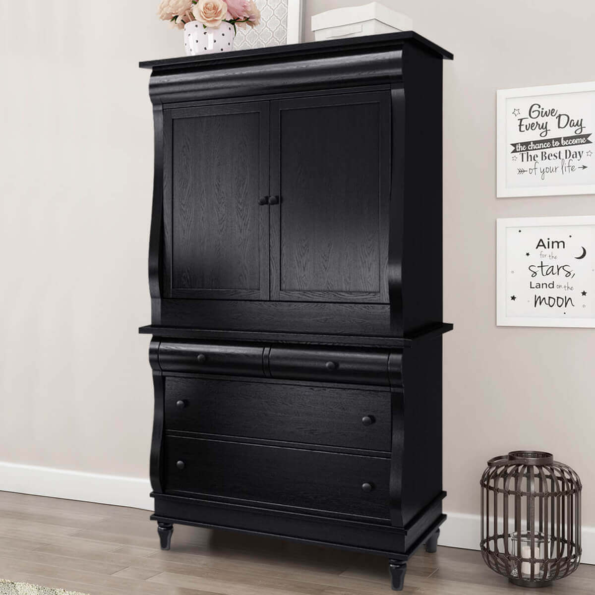 Midnight Empire Solid Wood Bombe Black Bedroom Armoire With Drawers