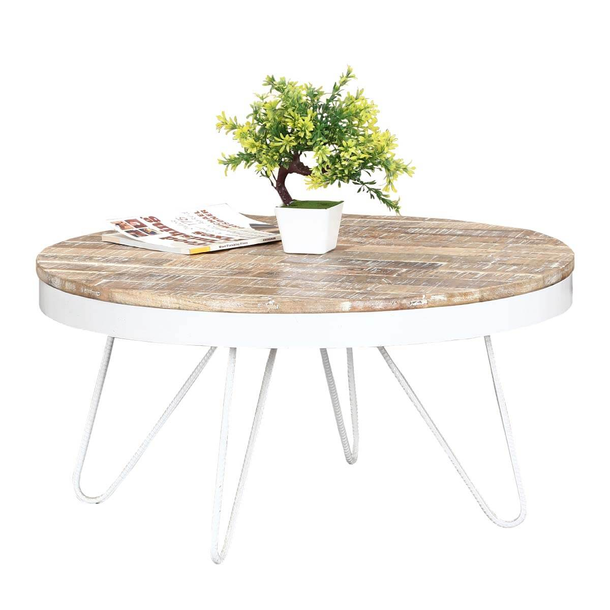31 Round Industrial White Accent Coffee Table