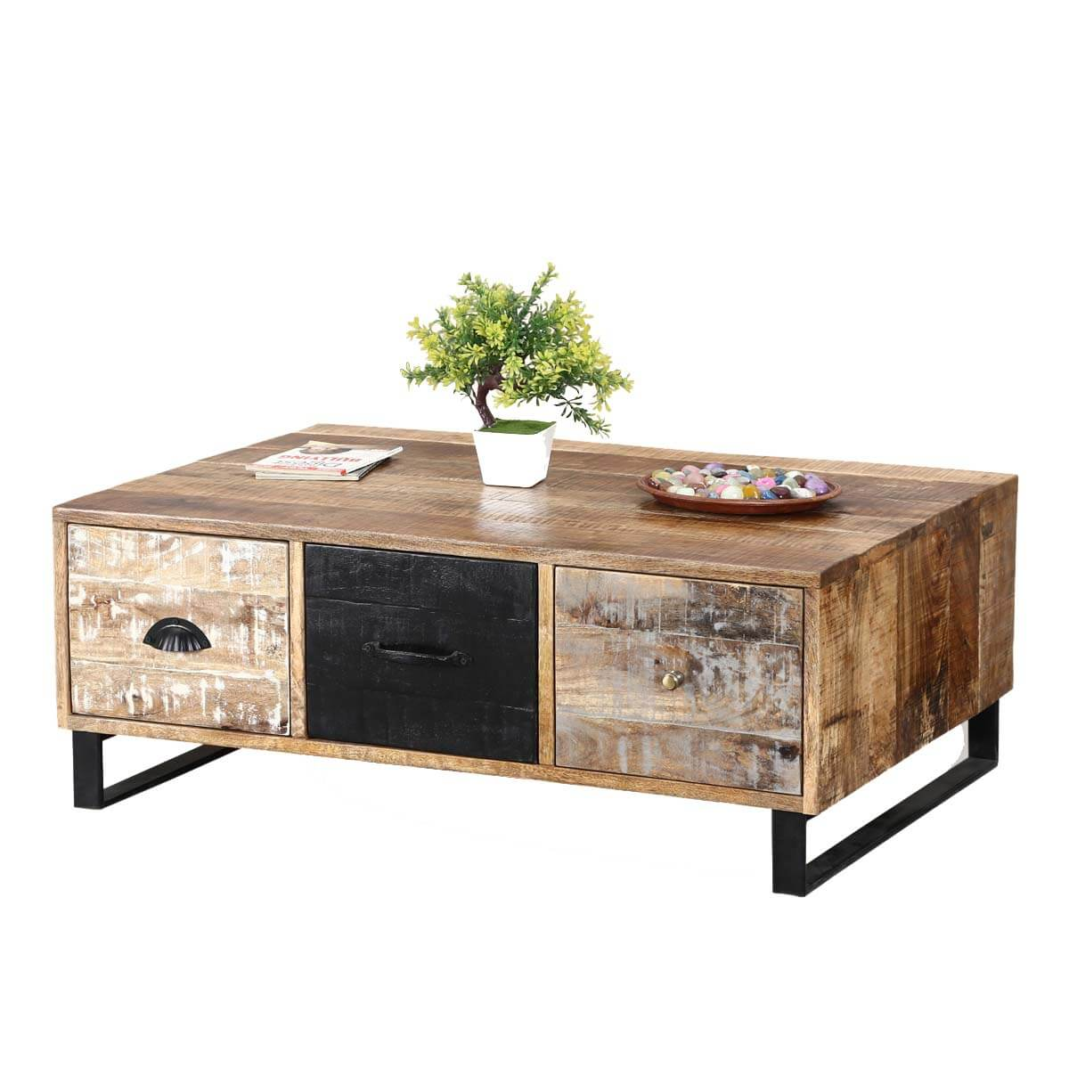 Industrial Pioneer Mango Wood & Iron Coffee Table 3-Drawer Chest