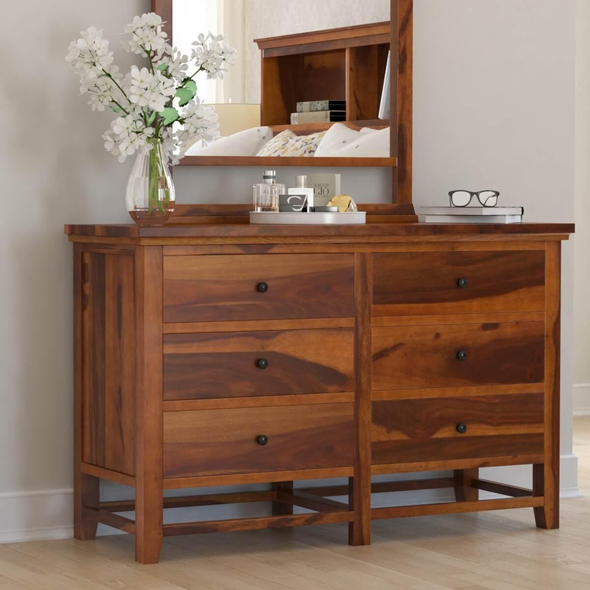 Mission Modern Solid Wood 6 Drawer Bedroom Double Dresser