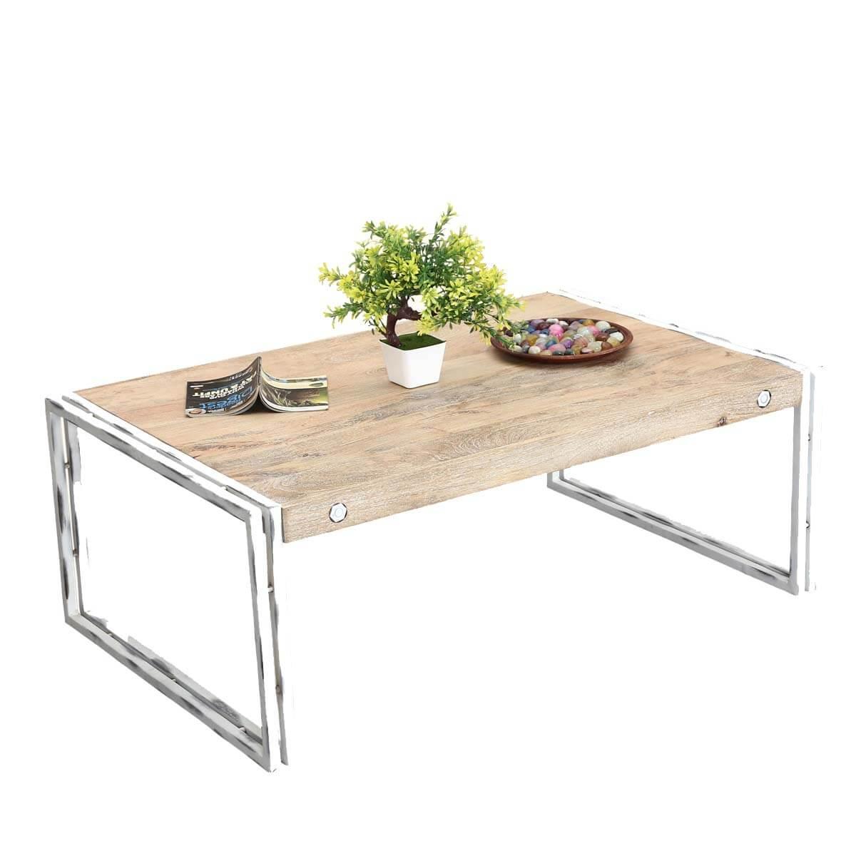 "Winter White Industrial Mango Wood & Iron 43.5"" Coffee Table"