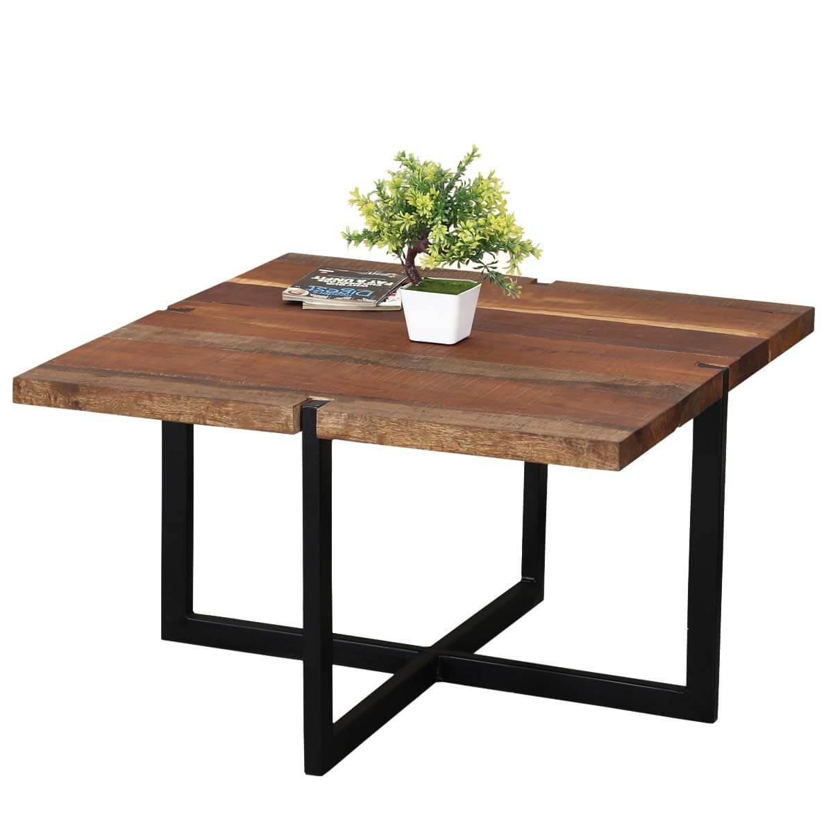 Suffolk Simplicity Reclaimed Wood Square Industrial  Coffee Table