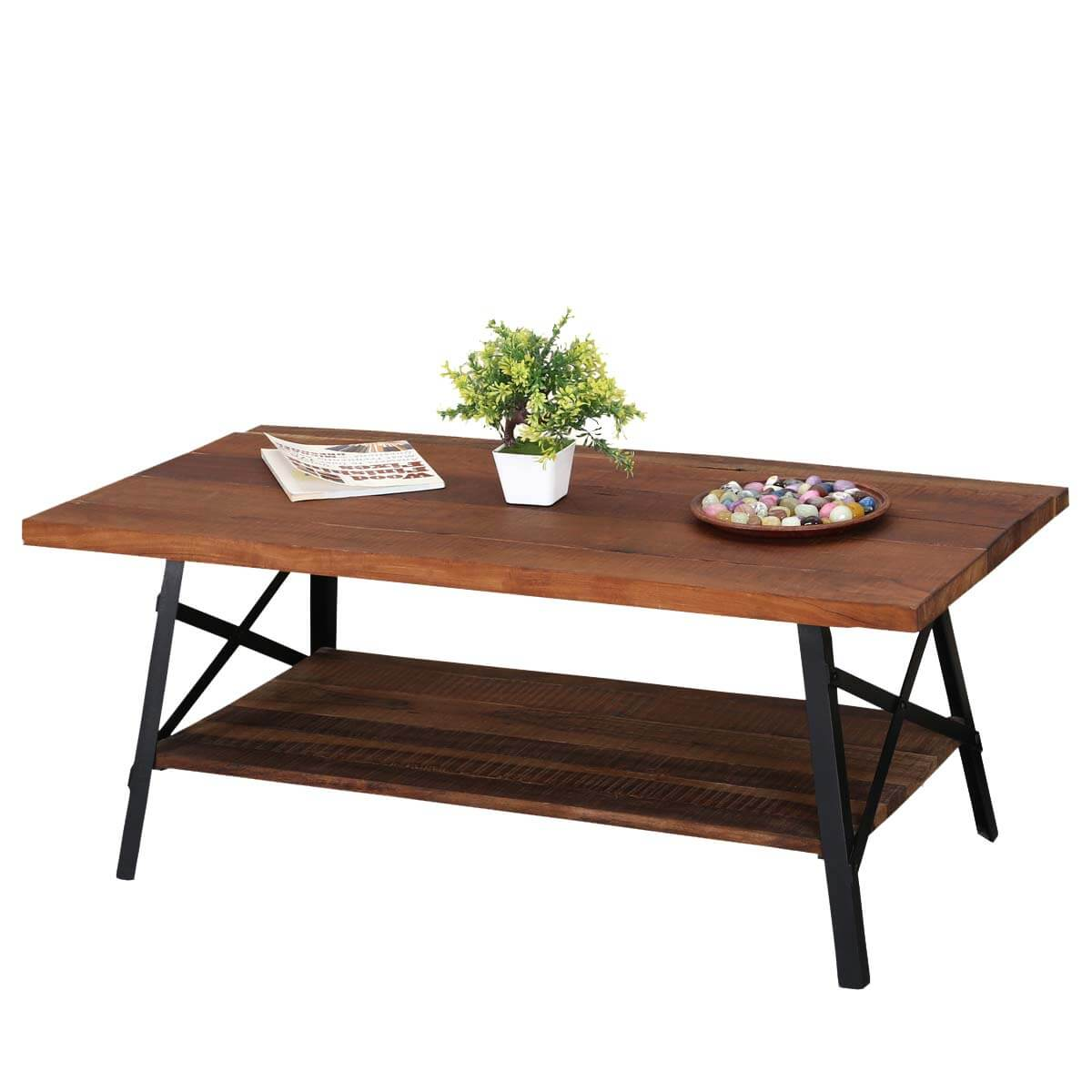 Awe Inspiring Industrial Simplicity Reclaimed Wood Iron 2 Tier Coffee Table Ocoug Best Dining Table And Chair Ideas Images Ocougorg