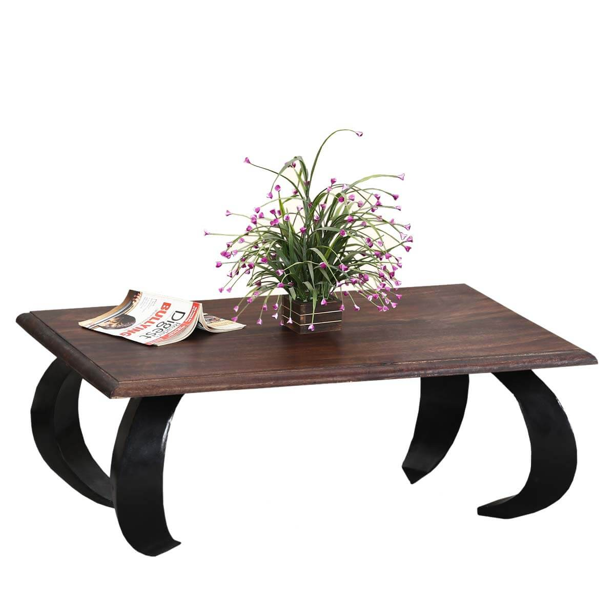 "Asian Opium Style Mango Wood & Iron 34"" Coffee Table"