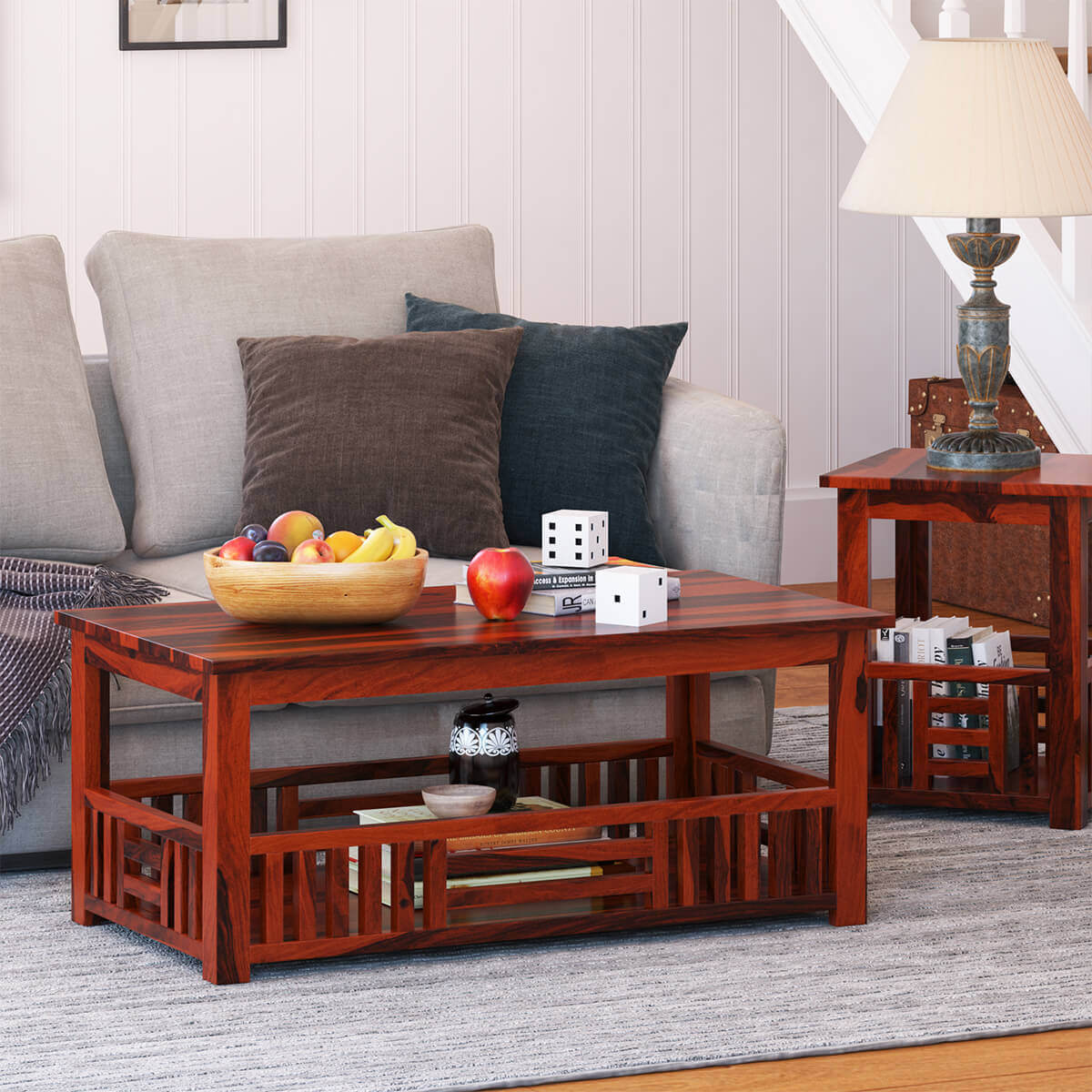 Yantis Mission Style Rustic Solid Wood Basket 2 Tier Coffee Table