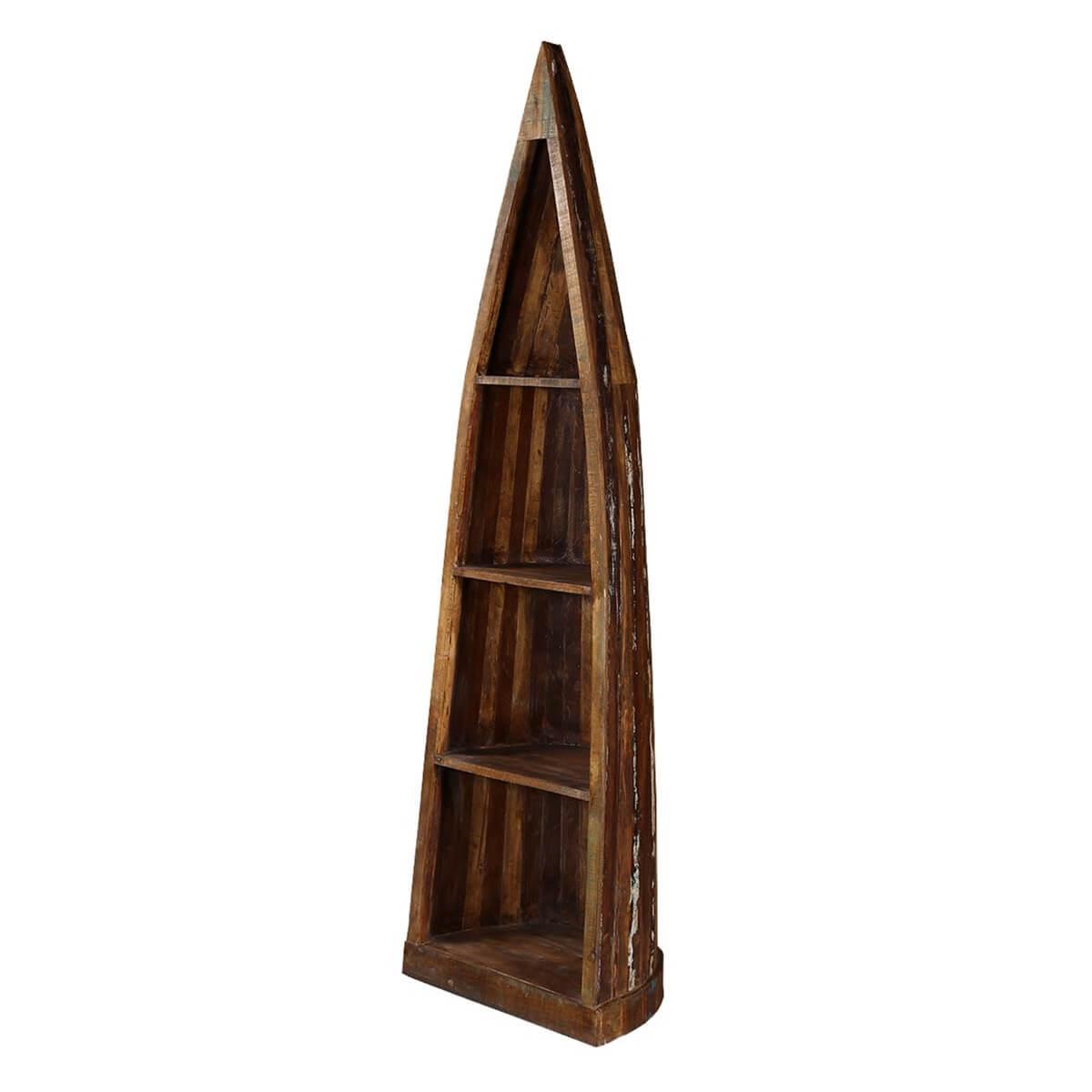 Wartrace 4 Open Shelf Rustic Reclaimed Wood Canoe Bookcase