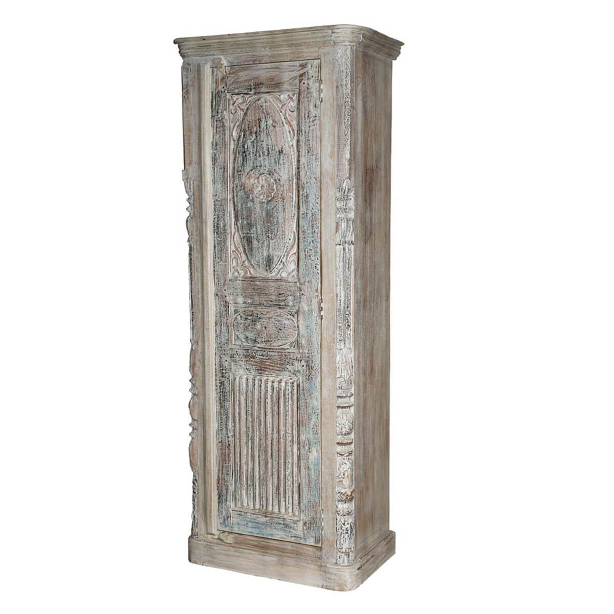 Sirmons Gothic Whitewashed Rustic Solid Wood Tall Narrow Armoire