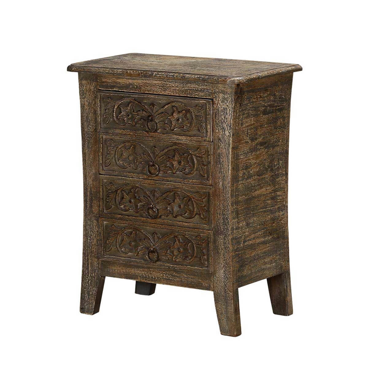 Palazzo Handcrafted Rustic Solid Wood 4 Drawer Nightstand