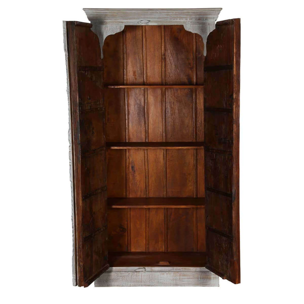 Gothic Winter White Washed Solid Reclaimed Wood Armoire ...