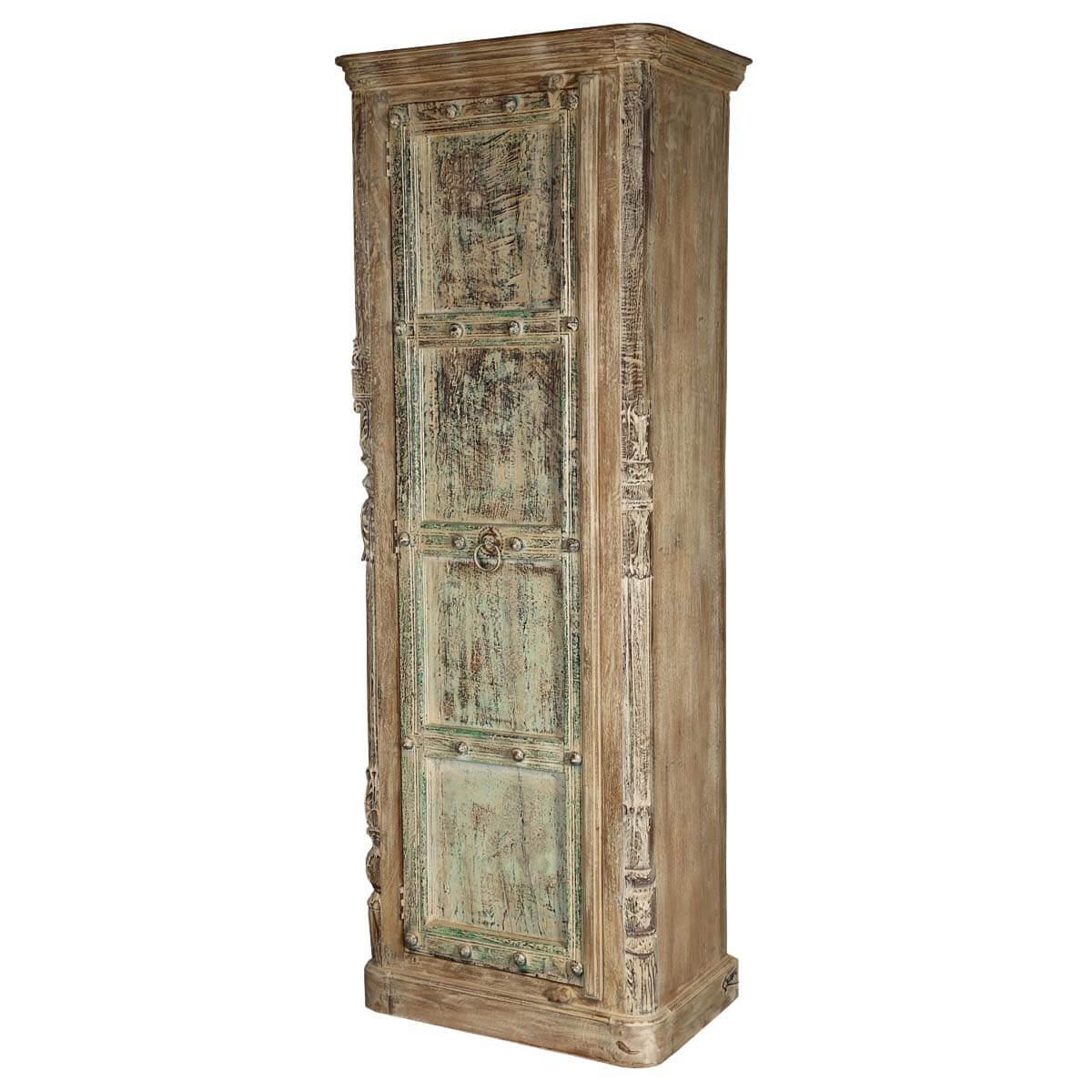 Urbana Distressed Rustic Reclaimed Wood Single Door Armoire Cabinet