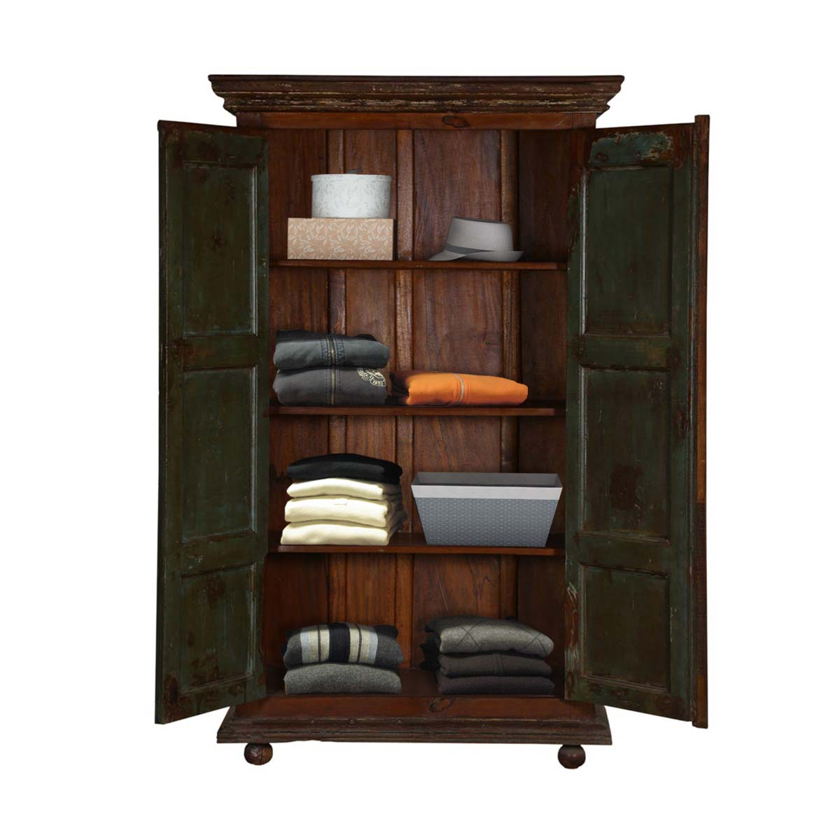 Palazzo Distressed Rustic Solid Reclaimed Wood Armoire ...