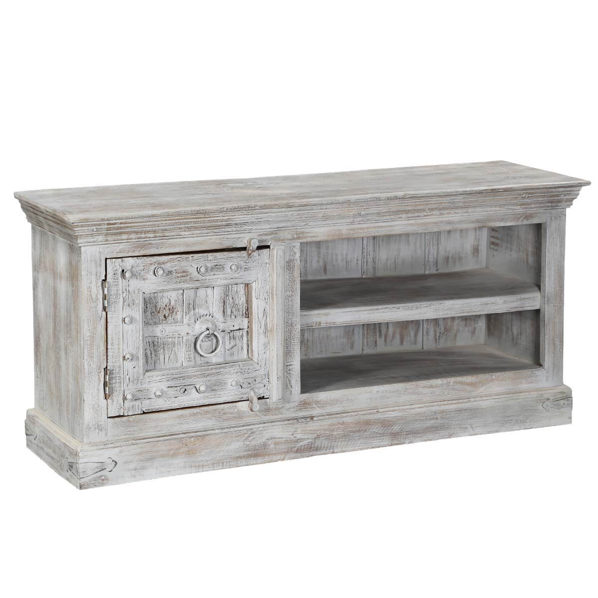 Attrayant Palazzo 59 Rustic Handcrafted Solid Wood Media Storage Console