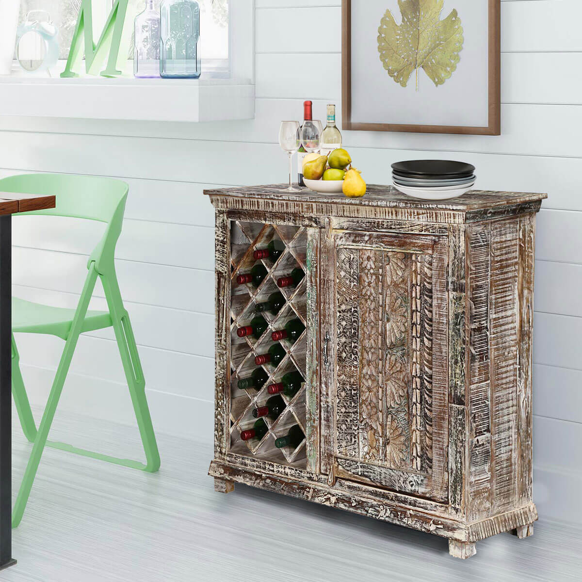 Hand Painted Distressed Solid Wood Rustic Bar Cabinet With 12