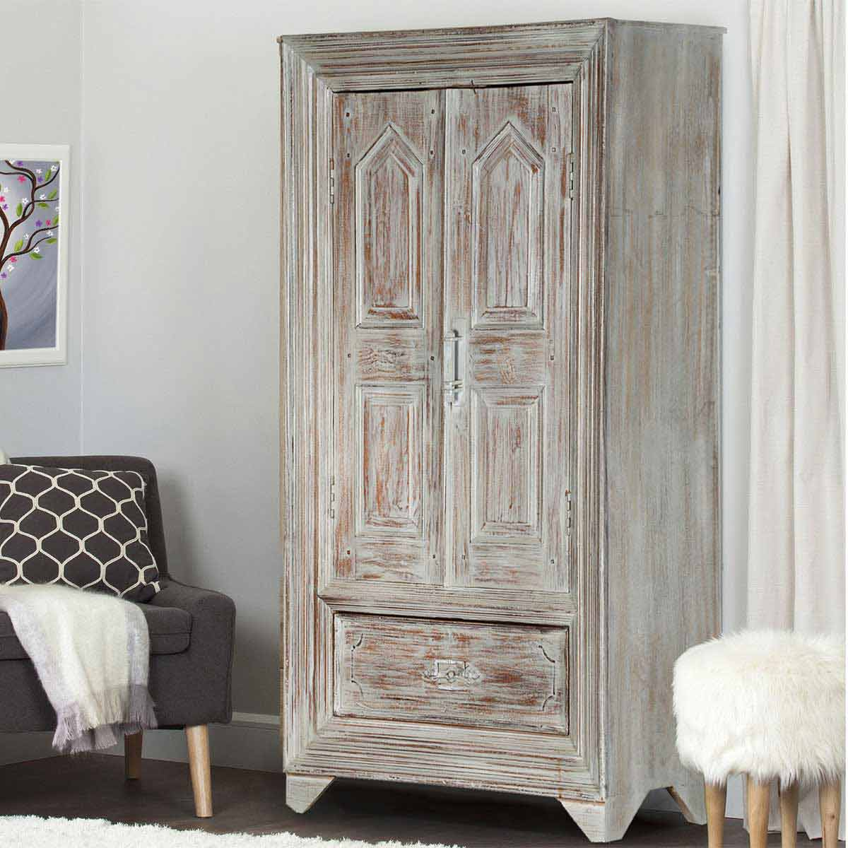Aviston distressed finish solid wood gray armoire cabinet hover to zoom