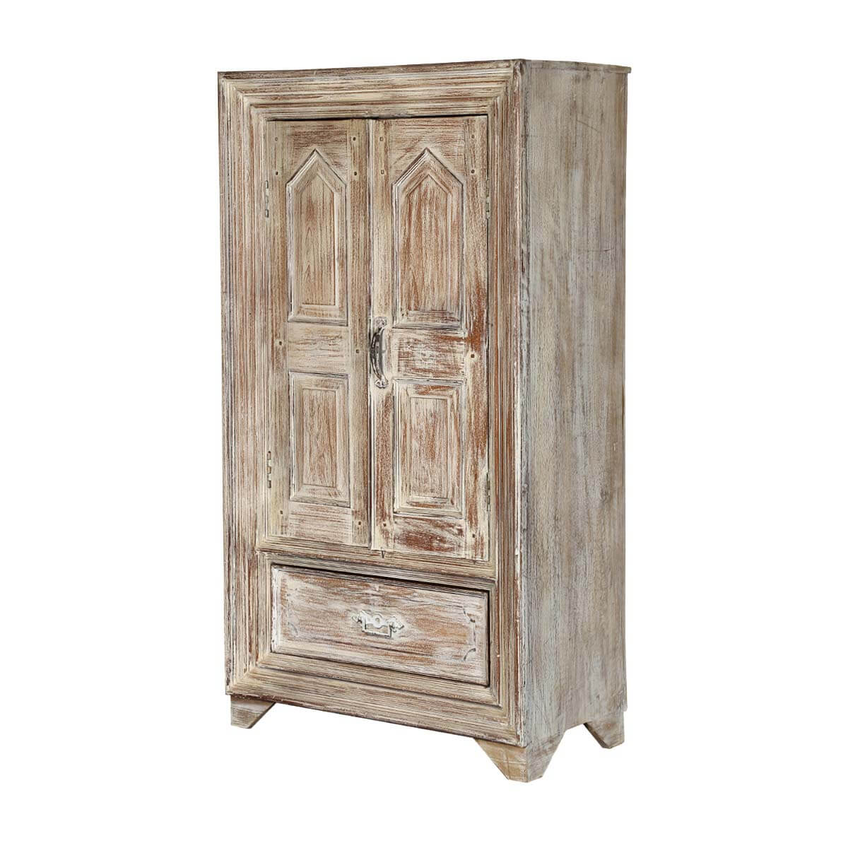 Parral Distress Rustic Solid Wood Single Drawer Armoire