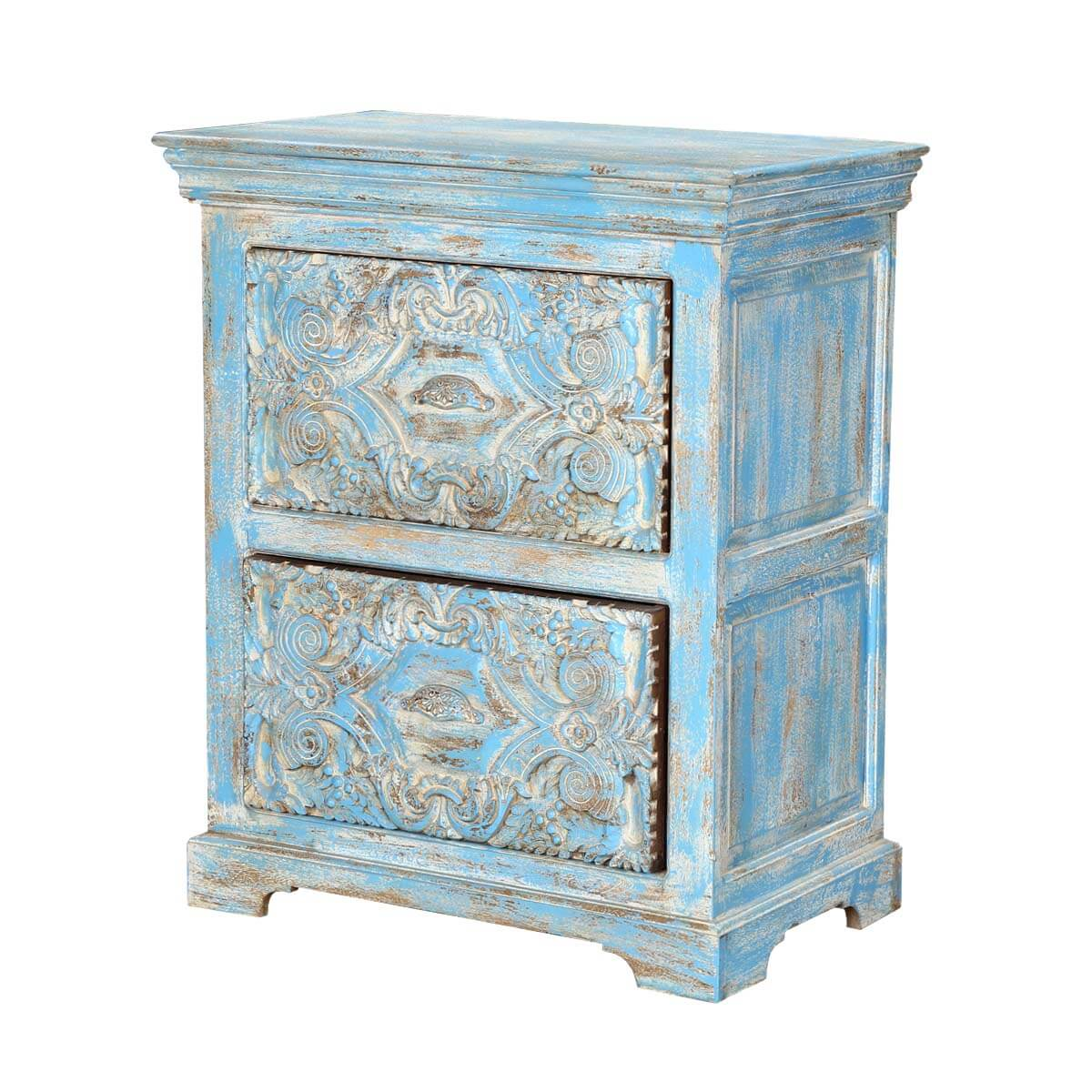 Tangier 30 Light Blue 2-Drawer Solid Wood Storage Nightstand