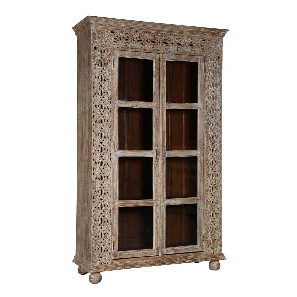 Dover Handcarved Rustic Solid Wood Tall Display Cabinet
