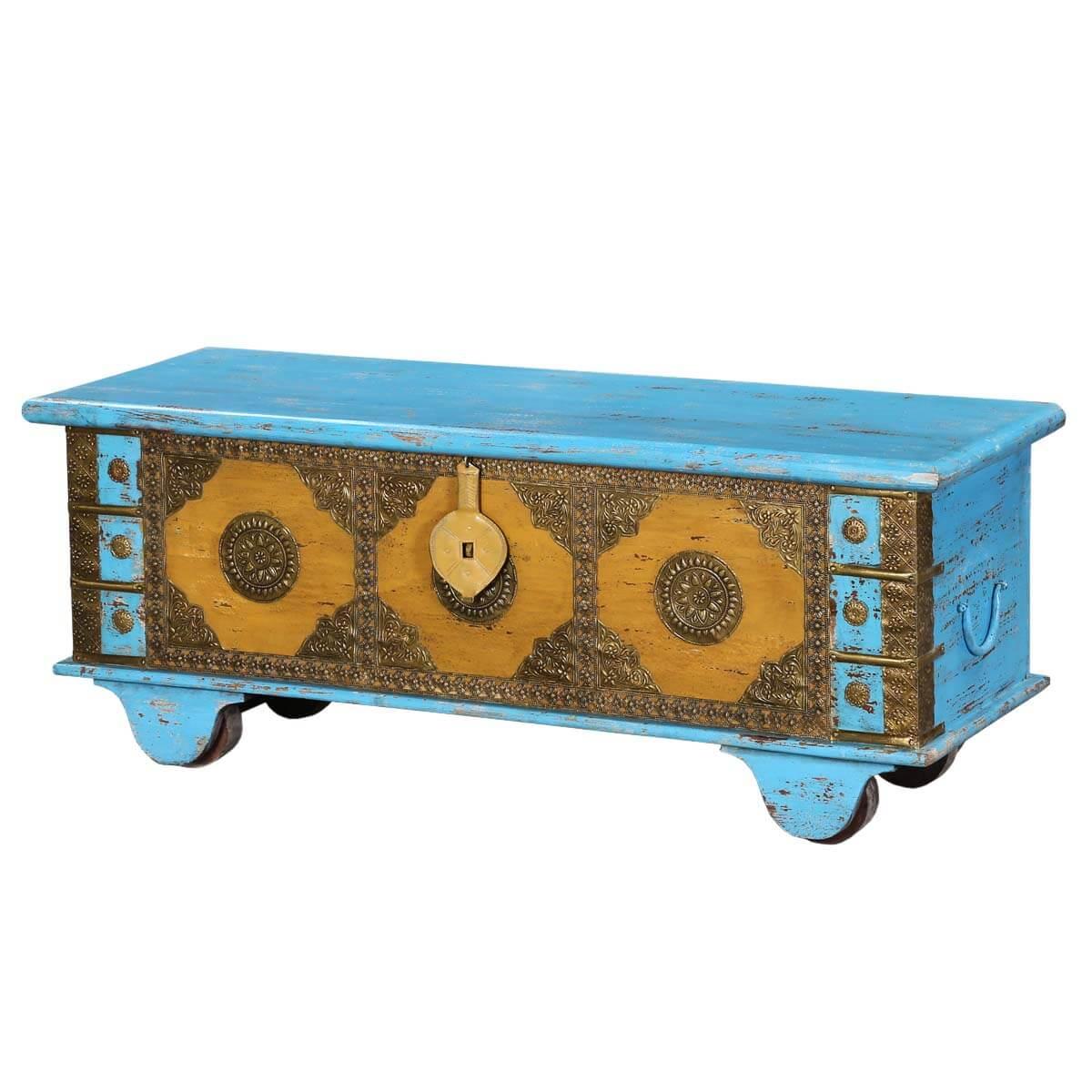 Blue & Gold Mango Wood & Brass Inlay Rolling Storage Trunk