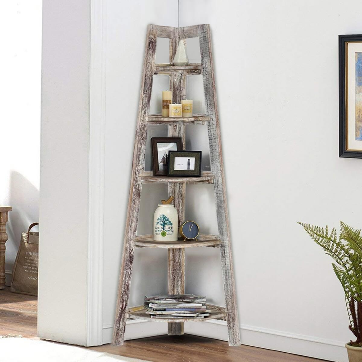 Riverton 5 Open Shelf Solid Wood Ladder Corner Bookcase