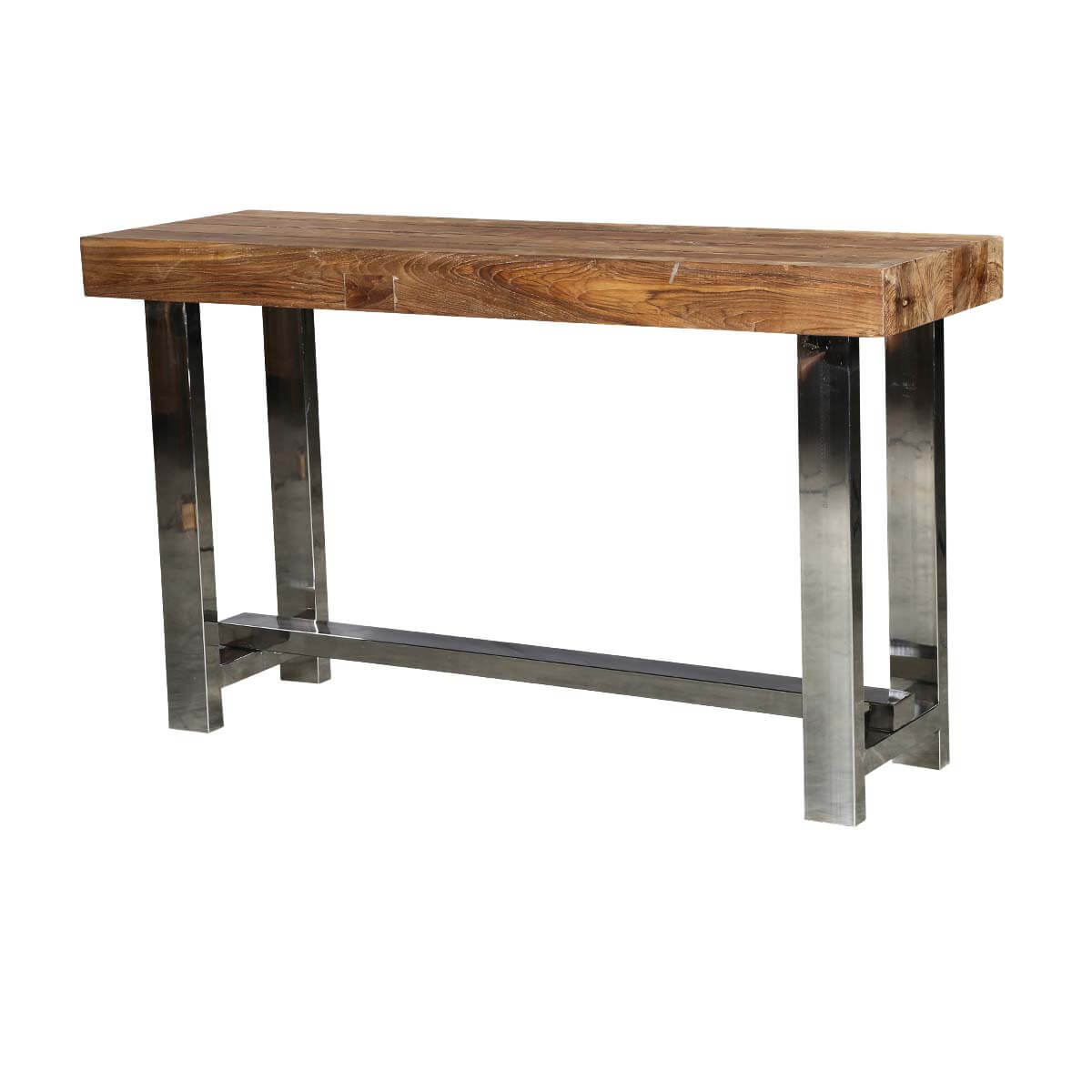 Modern Industrial Teak Wood & Polished Steel Hall Console Table