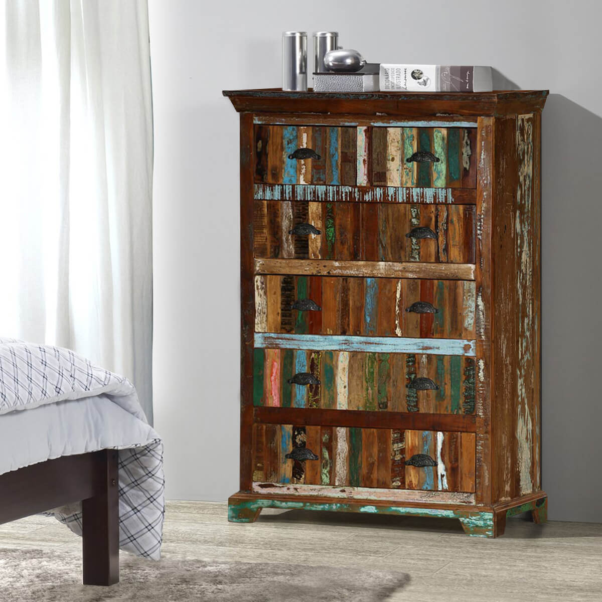 Rustic Rainbow Solid Reclaimed Wood 6 Drawer Bedroom Tall Dresser